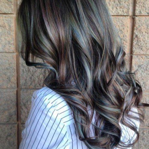 oil-slick hair