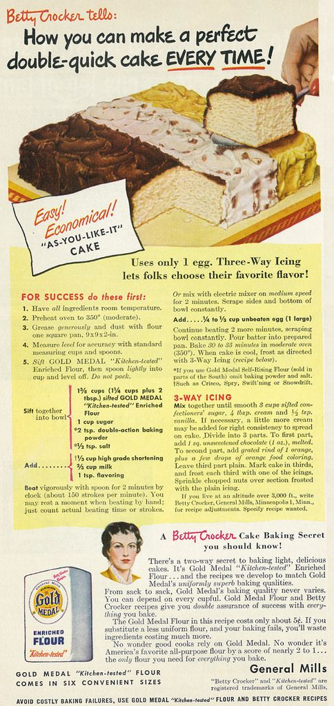 "Tagline: ""Betty Crocker tells: How you can make a perfect double-quick cake every time!""  Published in Good Housekeeping magazine, October 1949, Vol. 129 No. 4  Fair use/no known copyright. If you use this photo, please provide attribution credit; not for commercial use (see Creative Commons license)."