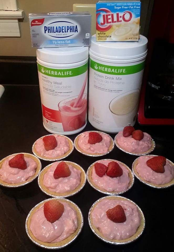 healthy meal replacement pie. 12 scoops Berry F1, 12 scoops VPDM, 1 box sugar free white chocolate pudding mix, 1 blockcream cheese, 5 cups water. blend well, pour into mini graham cracker pie crust and freeze.