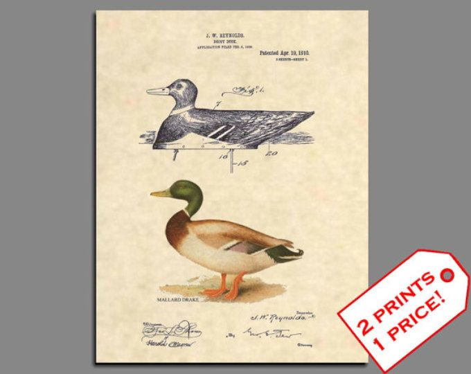 Duck Decoy Patent Art - Duck Hunting Patent Art - Hunting Poster Duck Art - Vintage Duck Wall Art Patent Poster - Hunting Patent Prints 506
