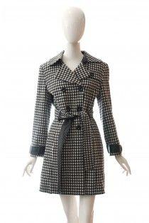 ESCADA luxusní vlněný kabát s kůží pepito vzor 38