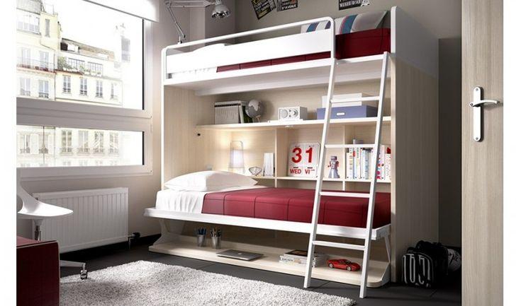 Litera abatible para dormitorio juvenil Liverpool | Comprar Literas en Muebles Rey