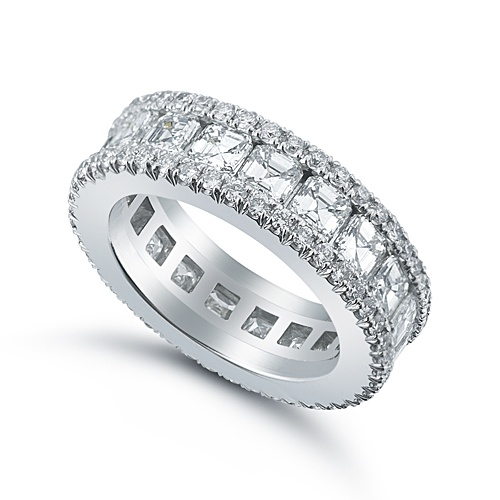 Bobby Band With 20 Point Asscher Cut Diamonds Set Between Two Rows Of Micro Pave