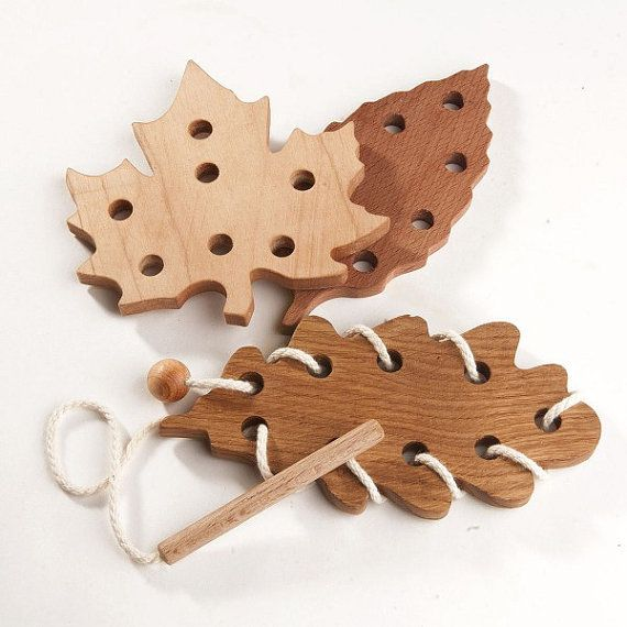 "This wooden lacing set""Leaf fall"" includes 3 lacing toys of different leaf shapes like oak, maple and beechwood. They look absolutely like their forest brothers! And even made from the right wood - maple lacing toy from maple wood, oak lacing toy from oak wood, beechwood - from"