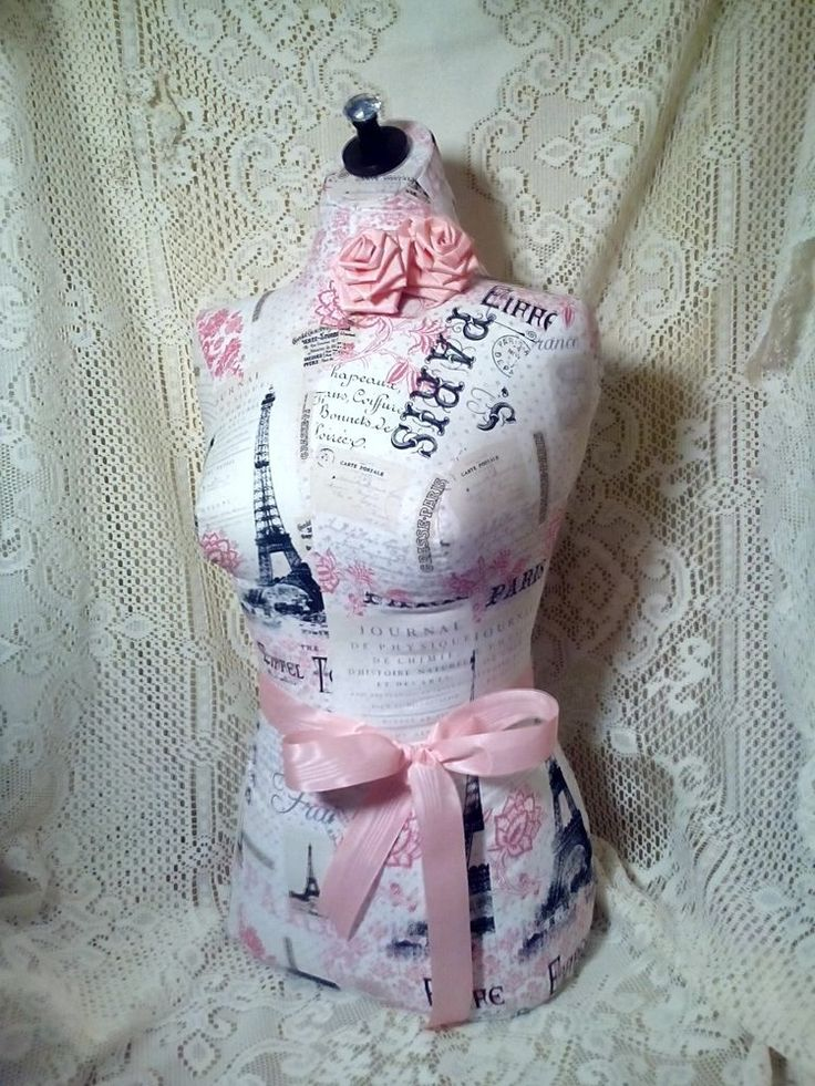 French Boutique dress form craft booth display Paris shabby decor Eiffel Tower
