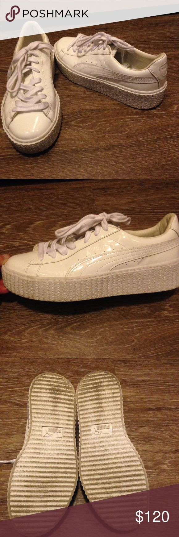 Puma Fenty White patent creeper sneakers 8 Puma Fenty Rihanna white patent Creeper sneakers 100% authentic gently worn box not included 🚨please no trades🚨 Puma Shoes Sneakers