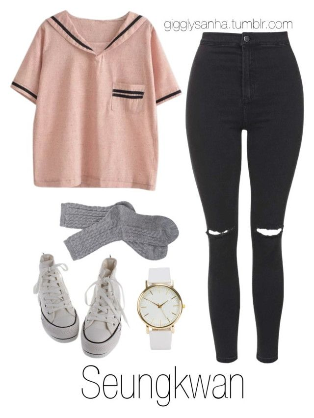 """""""How they would dress as girls // Seungkwan"""" by suga-infires ❤ liked on Polyvore featuring Topshop, Barbour and NLY Accessories"""