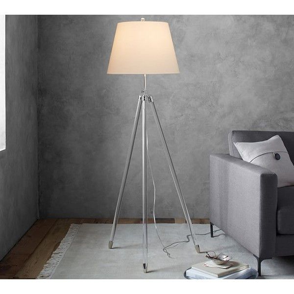 Pottery Barn Acrylic Tripod Floor Lamp ($220) ❤ liked on Polyvore featuring home, lighting, floor lamps, pottery barn shades, white tripod floor lamp, white shade, pottery barn lighting and 3 leg floor lamp