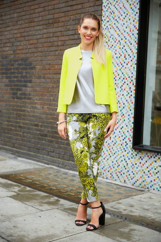 Printed pants & neon blazer. Stand out!