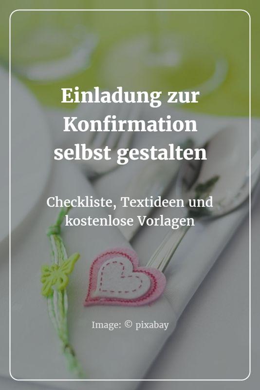 Einladung Zur Konfirmation Selbst Gestalten: Checkliste U0026 Textideen