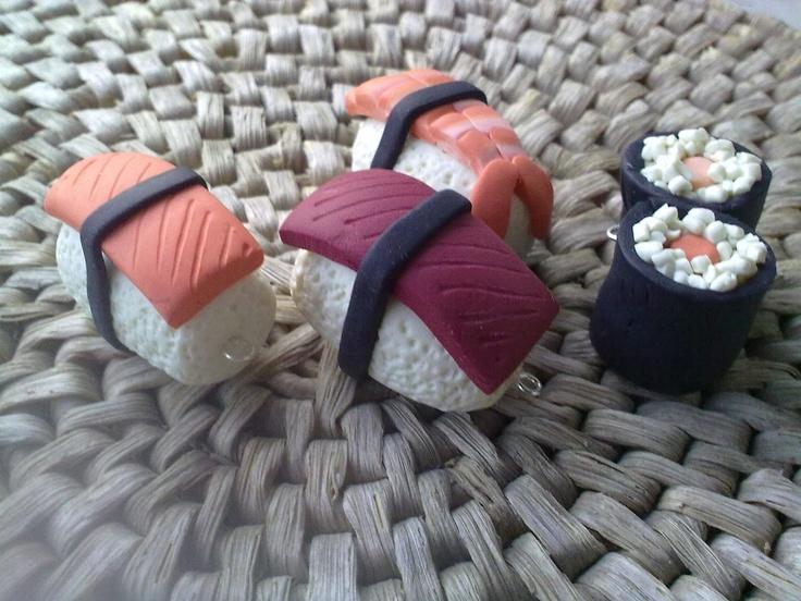 #PolymerClay #Sushi Pendants - Ciondoli sushi realizzati a mano in #fimo