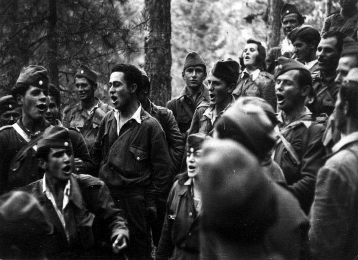 DSE fighters singing, c.1947-1949, Greek Civil War