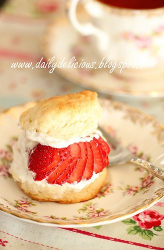 For Afternoon Tea: Strawberry shortcake.  Love the presentation.