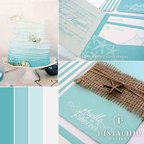 Beach inspired wedding invitation made by www.pistachiodesigns.co.za