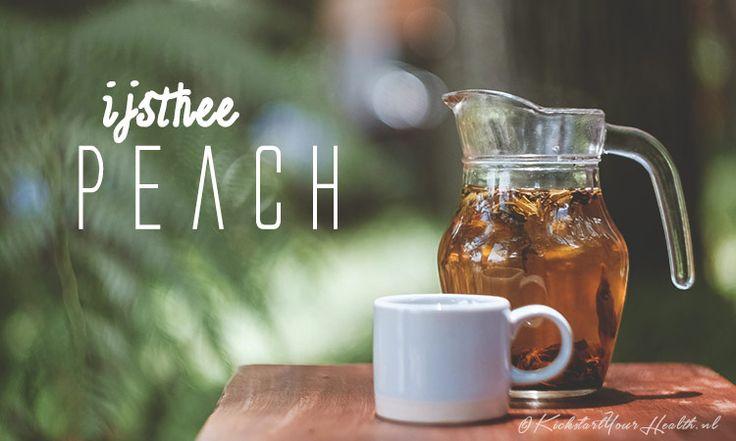 Een gezonde suikervrije ijsthee peach maak je eenvoudig met maar 2 ingrediënten! Deze ijsthee op basis van rooibos zit boordevol vitamine C en antioxidanten