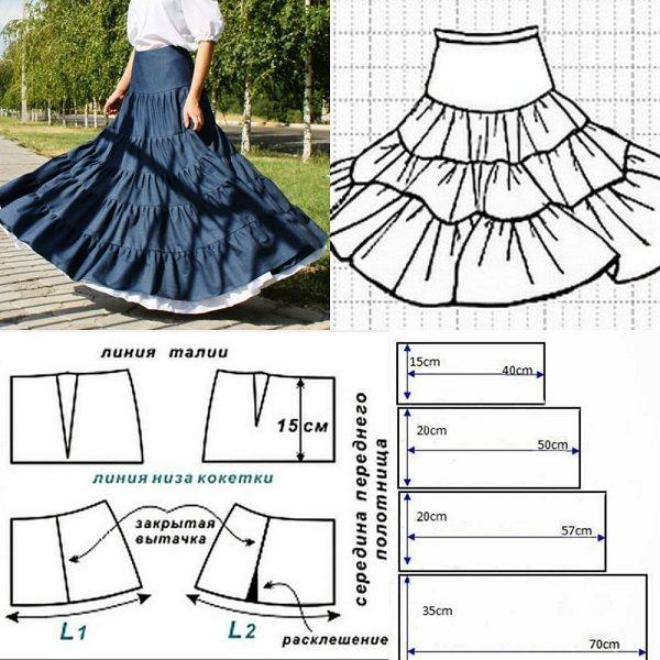 Кокетка для ярусной юбки