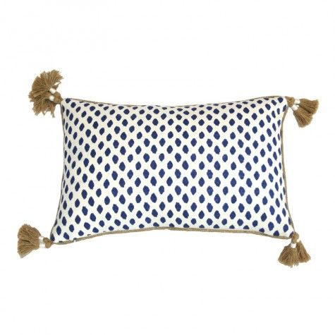 Sahara Midnight Blue And White Decorative Tassel Pillow