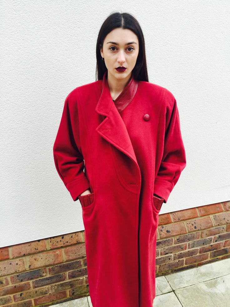 Jacket Junkie shoot.. Long 90s vintage Red coat with some powerful shoulder pads..
