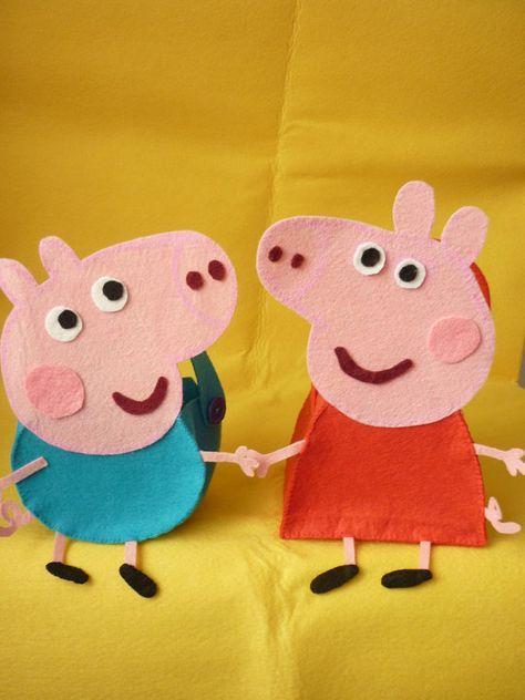 Peppa Pig y George Pig bolsos PDF patrones por HadaDelFieltro