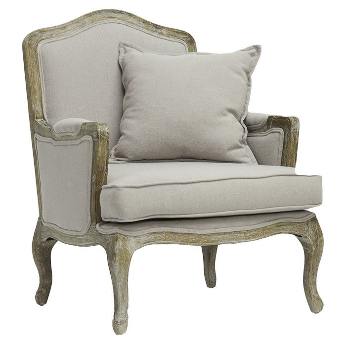 Weathered Birch Wood Arm Chair With Linen Upholstery And A Coordinating Pillow Product ChairConstruction Material LinenColor Gray Beige