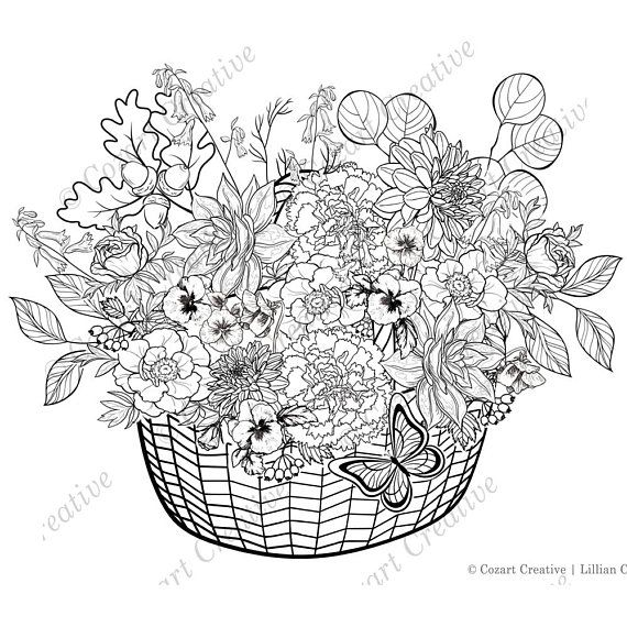 Adult Coloring Page Finely Detailed Basket Of Spring Flowers Mum