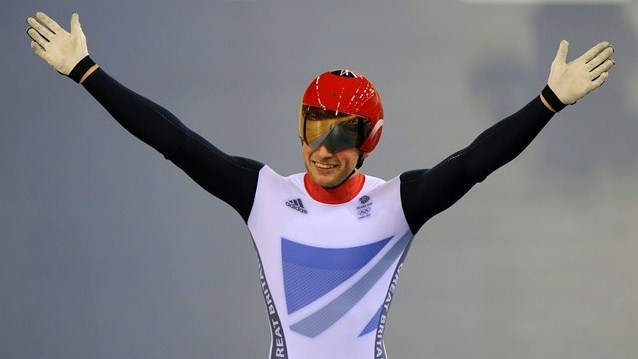 Jason Kenny of Great Britain celebrates winning the second heat against Gregory Bauge of France during the Men's Sprint Track Cycling Final and winning gold on Day 10 of the London 2012 Olympic Games at Velodrome
