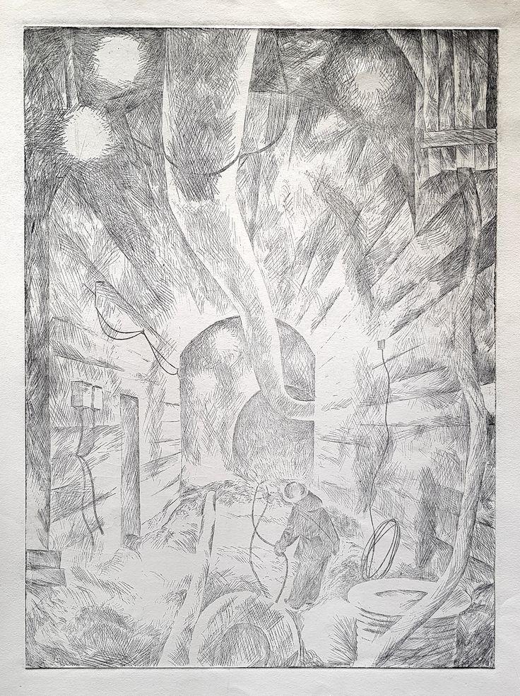 """Алымов А.С. """"Рудная шахта"""". Офорт, 1966 г. 47х35"""