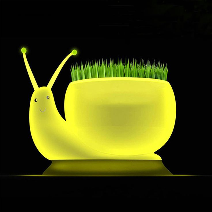 Novelty Snail Led Night Light DC 5V USB Charging 1W ecological plant Potting lamp Home Decoration Yellow Night Light Kid Gift