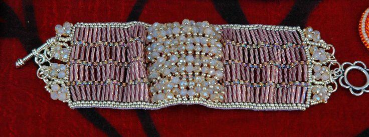 #Pink crystal bracelet band#Baguette#Crystal#Rocailles #Miyuki#