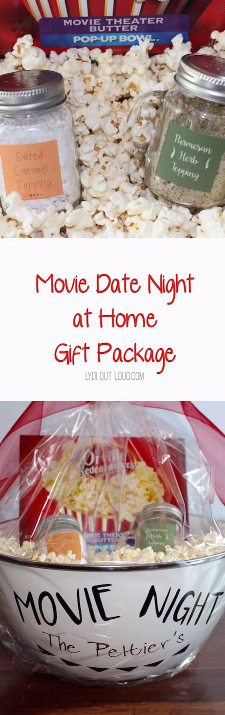 "Movie ""date night"" at home gift basket, the popcorn seasonings are phenomenal!"