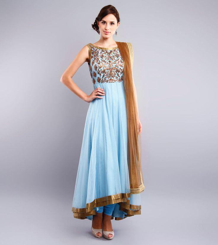 Sky Blue Embroidered Net Anarkali Suit