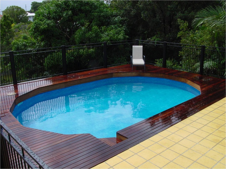 124 best images about above ground pool decks on pinterest for Above ground pool waterfall ideas