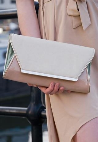 Juno 'Madrid' Envelope Clutch Bag £35  Pastel colour block and high shine nude!