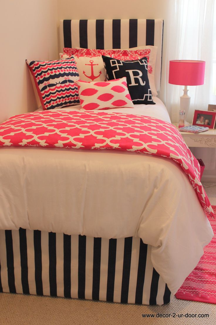 Extended length bed skirts and hot pink and navy nautical bedding perfect for home or dorm