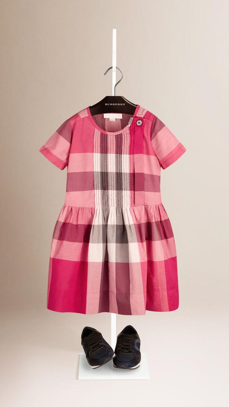 Checks cotton dress with pleated detail Rosa Crimson | Burberry