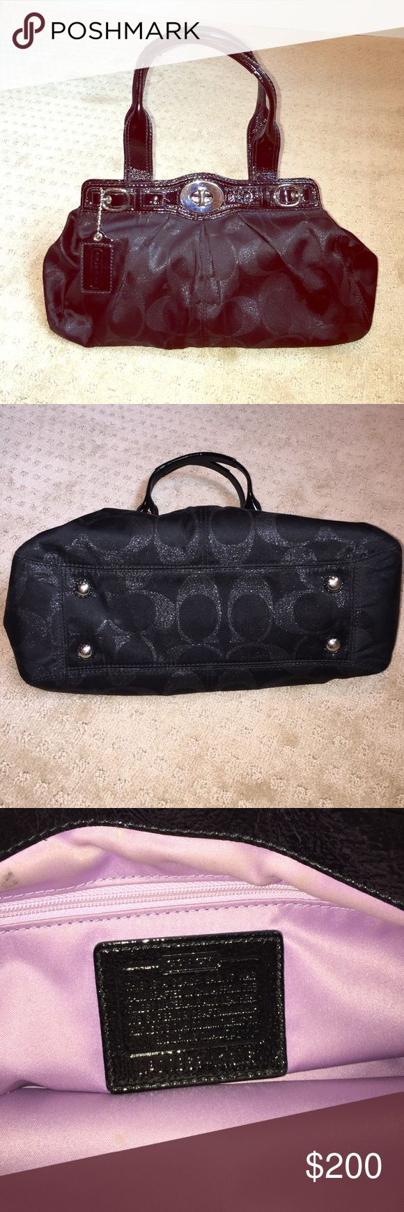 Black Coach Purse Black Coach Purse with purple lining. In great condition. Coach Bags Satchels