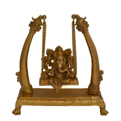 Brass Metal Lord Ganesh Jhula in Fine Finishing Carving Work