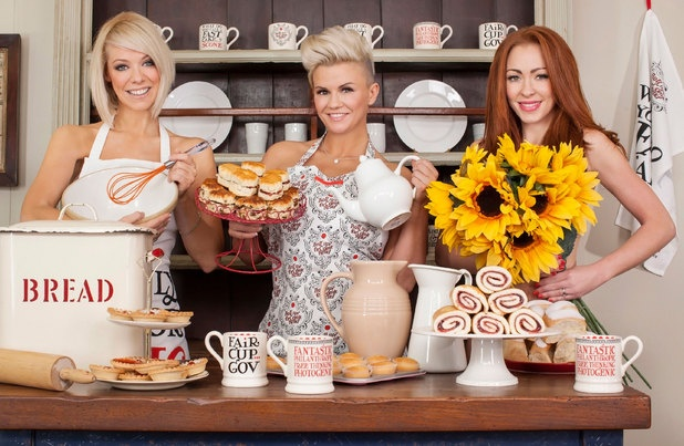 Liz McClarnon, Kerry Katona and Natasha Hamilton of Atomic Kitten in a Red Nose Day Tea Party photoshoot at one of our locations!