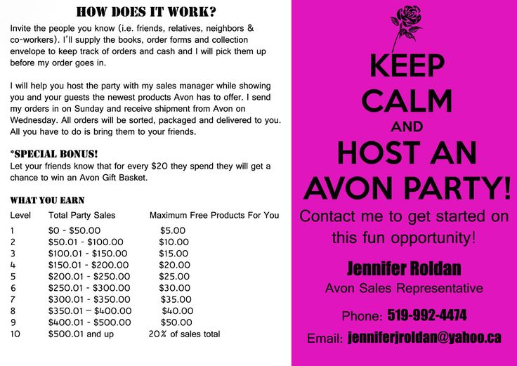 *Signs I need to make for biz*  Let's Host an Avon Party and GET YOU FREE STUFF!!!!! Contact me to book your Avon Party. www.facebook.com/chantesstore #Avon #Representative #Parties