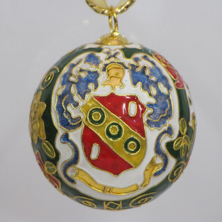 Officially licensed Alpha Gamma Delta, handcrafted, 24k gold plated cloisonne ornament - www.KittyKeller.com