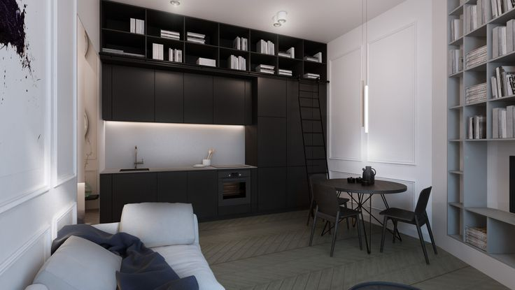 #black kitchen #interior #design #black #white #residential