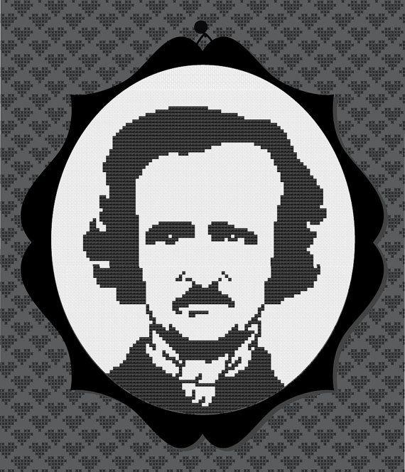 Edgar Allan Poe Silhouette Cross Stitch PDF Pattern by kattuna, $3.50