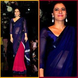 Bollywood Saree, Kajol Saree, Half and Half saree, gorgeous blue saree, 3/4 sleeve blouse pattern, modest blouse pattern