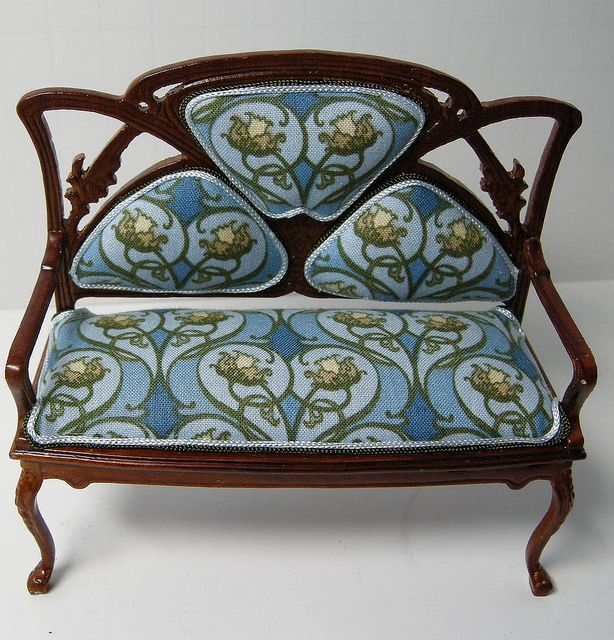 DSCN9241 | Flickr   Photo Sharing! Art Nouveau Custom Upholstered Dollhouse  Settee. Dollhouse Miniature