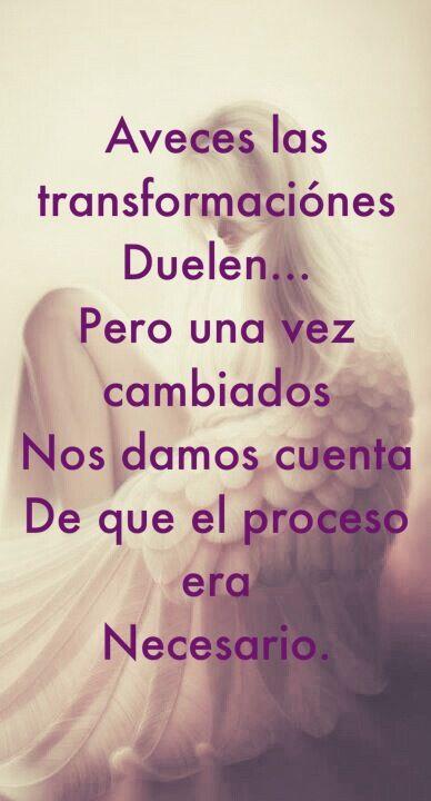 A veces las transformaciones duelen.Pero una vez cambiados, nos damos cuenta de que el proceso era necesario