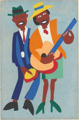 """Artwork: William Johnson, """"Blind Singer,"""" c.1940, color screenprint with tempera additions on wove paper, National Gallery of Art, Washington, Reba and Dave Williams Collection, Florian Carr Fund and Gift of the Print Research Foundation #blackhistorymonth"""