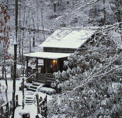 Cabin in the Snowy Woods. Yes it looks very cozy of a winter stay. www.batsbirdsyard.com = Bat houses.
