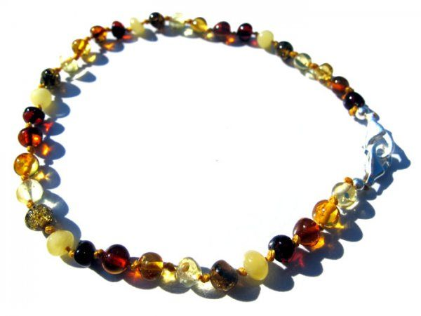 Beautiful handmade multi coloured baltic amber adjustable anklet / bracelet made with the finest amber