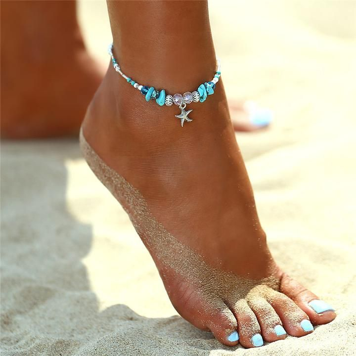 Women Boho Beach Silver Starfish Pendant Anklet Bracelet Foot Chain Ankle Bangle