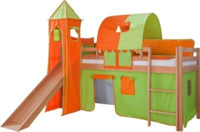 Relita Hochbett Toby Buche Massiv mit Rutsche,Turm,Stoff grün/orange Jetzt bestellen unter: https://moebel.ladendirekt.de/kinderzimmer/betten/hochbetten/?uid=7351d40a-271a-5831-963f-aa78f0828d54&utm_source=pinterest&utm_medium=pin&utm_campaign=boards #kinderzimmer #kleinkindmöbel #hochbetten #betten